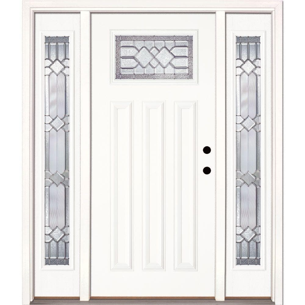 Feather River Doors 63 5 In X81 625 In Mission Pointe Zinc Craftsman Unfinished Smooth Left Hand Fiberglass Prehung Front Door W Sidelites A82190 3a4 The Home Depot