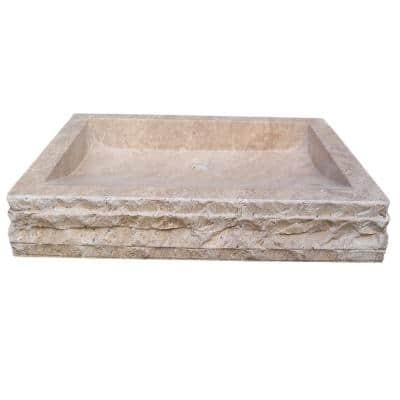 Chiseled Rectangular Natural Stone Vessel Sink in Almond Brown