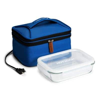 Blue Food Warming Lunch Bag Plus 120V with Glass Dish