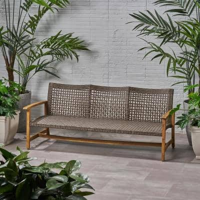 Hampton Natural Stained 1-Piece Wood Outdoor Couch