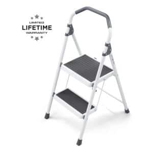 2-Step Steel Lightweight Step Stool Ladder 225 lbs. Load Capacity Type II Duty Rating