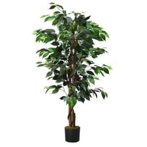 4Ft Artificial Ficus Tree Fake Greenery Plant Home Office Decoration