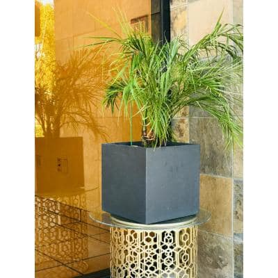 16 in. Tall Charcoal Lightweight Concrete Square Modern Outdoor Planter