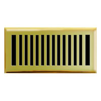 4 in. x 10 in. New York Modern Floor Register in Polished Brass
