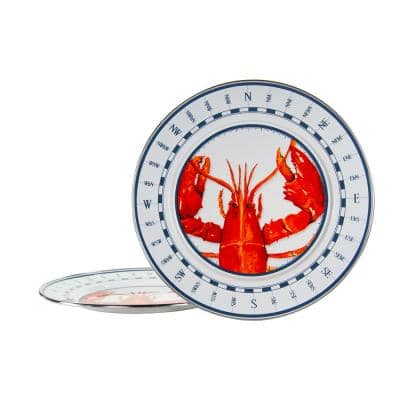 Lobster 12.5 in. Enamelware Round Chargers (Set of 2)