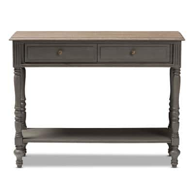 Noemie 44 in. Brown Standard Rectangle Wood Console Table with 2-Drawers