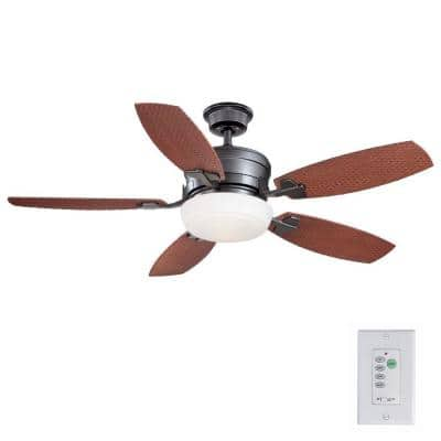 Molique 54 in. Indoor/Outdoor Natural Iron Ceiling Fan with Light Kit and Wall Control