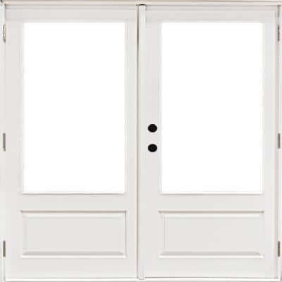 72 in. x 80 in. Fiberglass Smooth White Right-Hand Outswing Hinged 3/4 Lite Patio Door