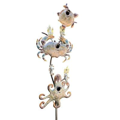 85 in. Tall Coastal Style Birdhouse Stake - Sea Turtle and Crab