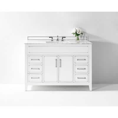 Aspen 48 in. W x 22 in. D Bath Vanity in White with Vanity Top in Carrara White Marble with White Basin