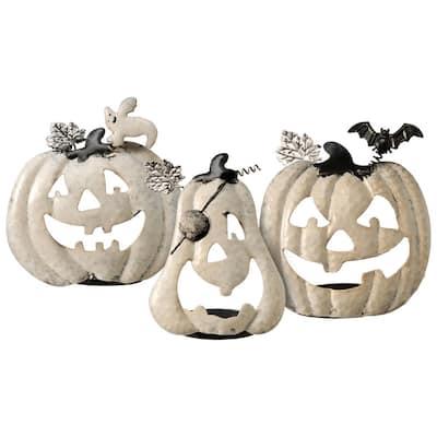 Pumpkin Halloween Decor Candle Holder Assortment (3-Piece)