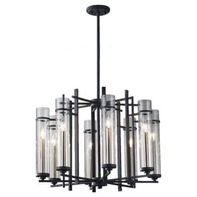 Ethan 8-Light Antique Forged Iron/Brushed Steel Contemporary Industrial 1-Tier Hanging Candlestick Chandelier