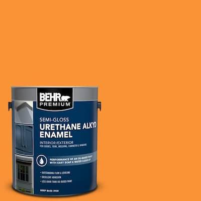 1 gal. #P240-7 Joyful Orange Urethane Alkyd Semi-Gloss Enamel Interior/Exterior Paint