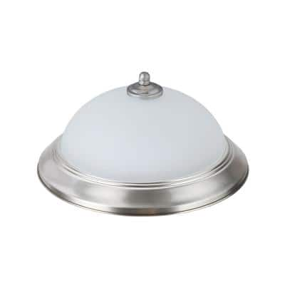 11 in. 15-Watt Satin Nickel Integrated LED Ceiling Flush Mount with Frosted Glass Diffuser