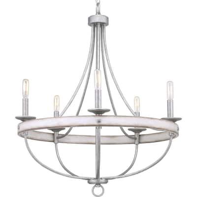 Gulliver Collection 5-Light Galvanized Finish Coastal Chandelier Light