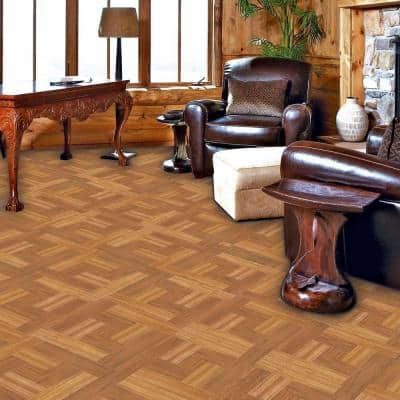 Brown Wood Parquet 12 in. x 12 in. Peel and Stick Vinyl Tile Flooring (30 sq. ft. / case)