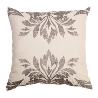 Cream and Grey Damask 20 in. x 20 in. Home Indoor Throw Pillow with Embroidery