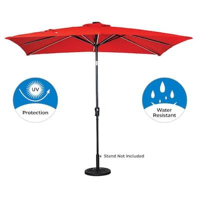 9 ft. x 7 ft. Rectangular Next Gen Solar Lighted Market Patio Umbrella in Ruby Red
