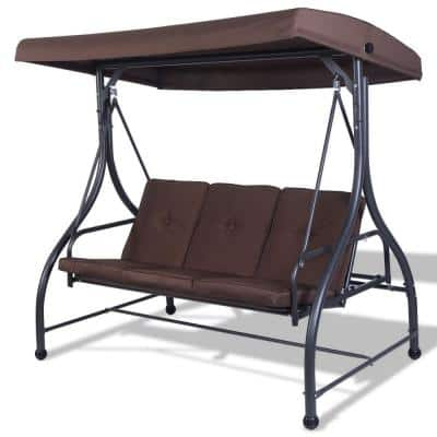 3-Seats Outdoor Canopy Swing in Brown with Cushions and Adjustable Tilt Canopy