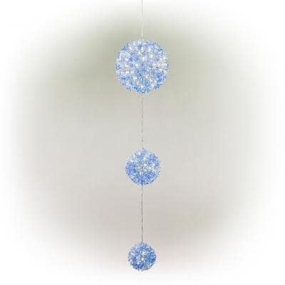 37 in. Tall 3-Tier Christmas Ornaments With Chasing Blue and White LED Lights