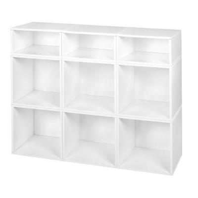 33 in. H x 39 in. W x 13 in. D White Wood 9-Cube Storage Organizer