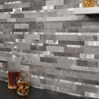 Luxe Core Metalway Cement 11.81 in. x 11.81 in. SPC Peel and Stick Tile (0.96 Sq. Ft. / Sheet)