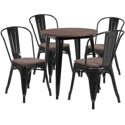 5-Piece Black Table and Chair Set