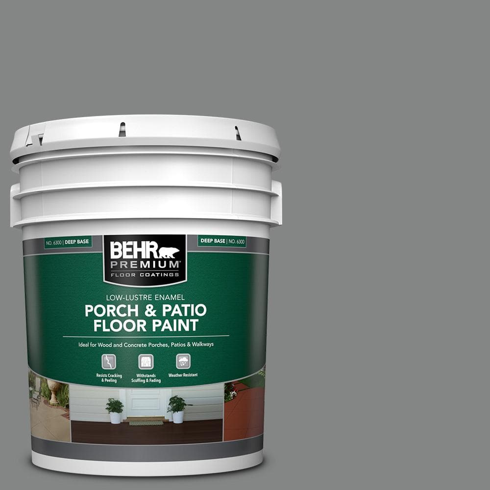 Behr Premium 5 Gal Pfc 63 Slate Gray Low Lustre Enamel Interior Exterior Porch And Patio Floor Paint 630005 The Home Depot