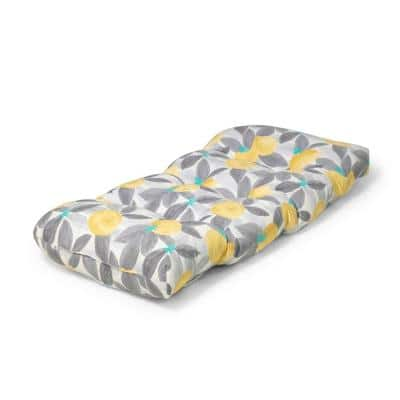 42 in. x 18 in. x 5 in. Stone Gray Lemons Outdoor Tufted Bench Cushion