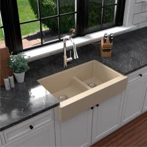 Retrofit Farmhouse/Apron-Front Quartz Composite 34 in. Double Offset Bowl Kitchen Sink in Bisque
