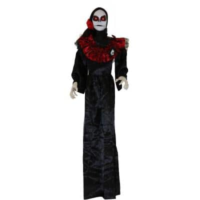 64 in. White Sugar-Skull Inspired Day Of The Dead Animatronic Skeleton with Flashing Red Eyes and Sounds Halloween Prop