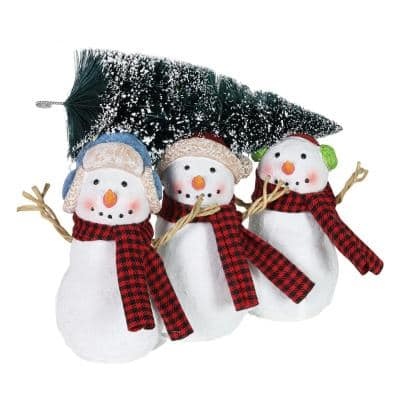 3 Snowmen Carrying LED Christmas Tree with Timer Garden Statue