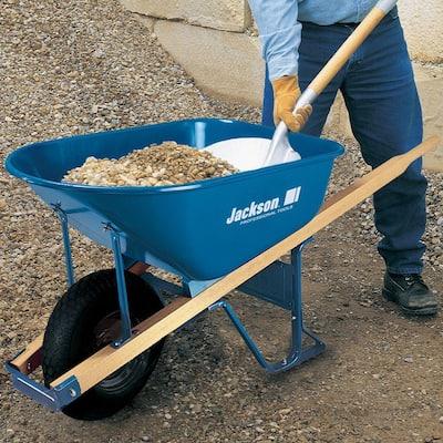 6 cu. ft. Heavy Gauge Seamless Steel Wheelbarrow with Hardwood Handles