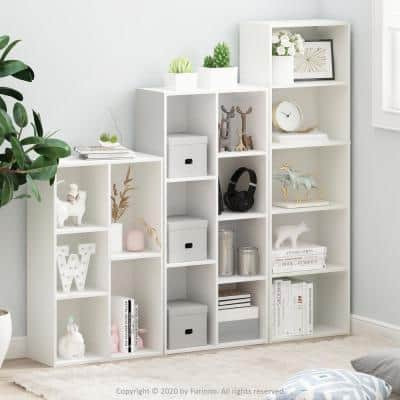 Tropika 52 in. White Faux Wood 5-shelf Standard Bookcase with Storage