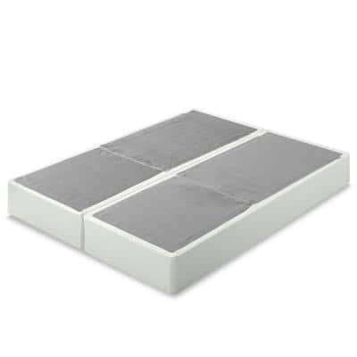 No Assembly Split Queen Cool Grey Metal Box Spring, 9 Inch Profile