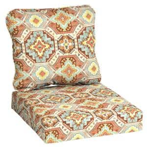 24 in. x 22 in. 2-Piece Russet Geo Deep Seating Outdoor Lounge Chair Cushion