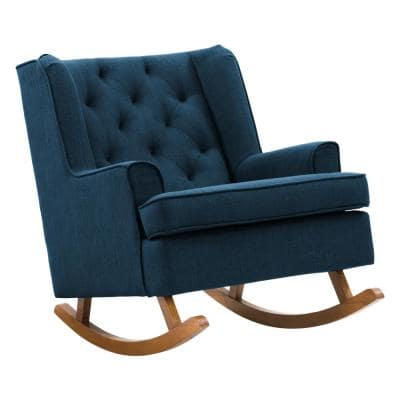 Boston Navy Blue Tufted Fabric Rocking Chair