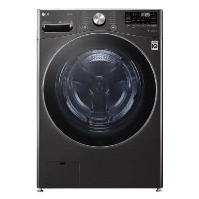 27 in. 5.0 cu. ft. Mega Capacity Black Steel Smart Front Load Washer with TurboWash360, Steam & Wi-Fi Connectivity