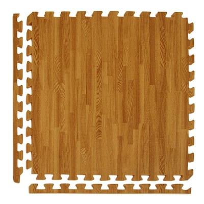Wood Grain Reversible Standard Wood/Tan 24 in. x 24 in. x 0.5 in. Foam Interlocking Floor Tile (Case of 25)