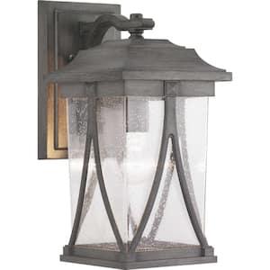 Abbott Collection 1-Light Antique Pewter Clear Seeded Glass Craftsman Outdoor Medium Wall Lantern Light