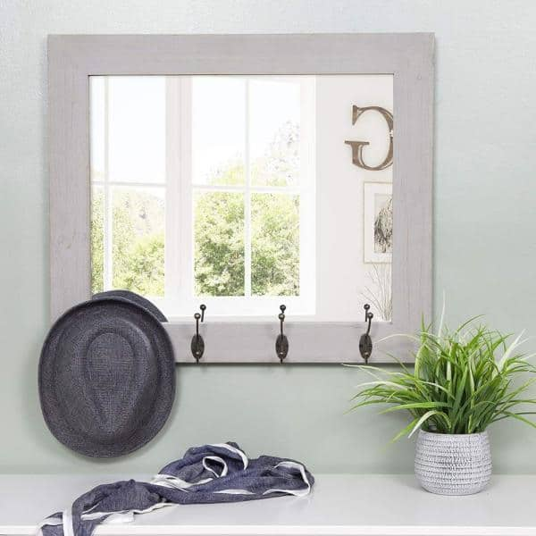Reviews For Pinnacle Medium Rectangle Gray Mirror 22 In H X 26 In W 18fp1415e The Home Depot