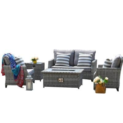 Irene Gray 5-Piece Aluminum Wicker Patio Fire Pit Conversation Set with Gray Cushions