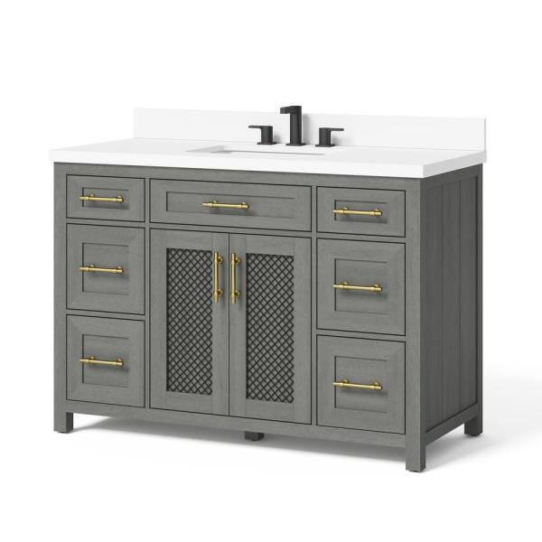 Home Decorators Collection Erinton 48 In W X 21 In D Vanity In Antique Grey With Engineered Stone Vanity Top In White With White Basin Hdpnt48v The Home Depot