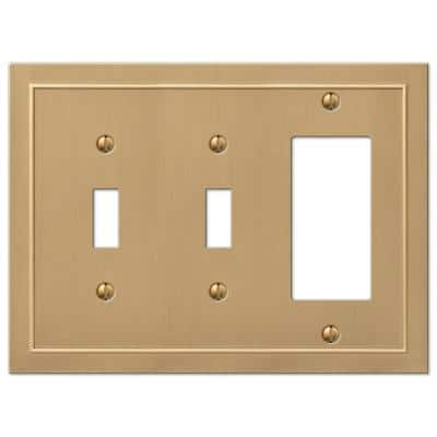 Bethany 3 Gang 2-Toggle and 1-Rocker Metal Wall Plate - Brushed Bronze