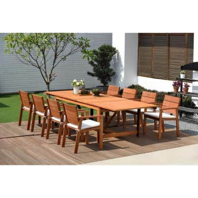 Charles 9-Piece Patio Dining Set with Off-White Cushions