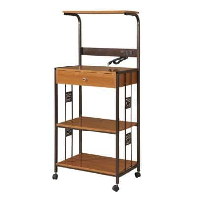 Home Source Zoe Microwave Cart with 3 Mahogany Shelves and 1 Drawer, Espresso Metal Frame with 4 Casters