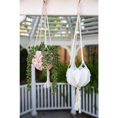 5 in. Matte White Ceramic Macrame Hanging Planter