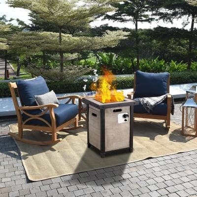20.08 in. W x 24.4 in. H Square Wood Propane Gas Brown Fire Pit Kit with Lava Rocks