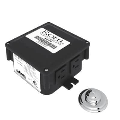 1.81 in. Luxury Air Activated Switch Complete with Button and Control Box for Waste Disposal in Polished Chrome