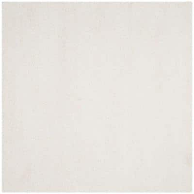 California Shag White 5 ft. x 5 ft. Square Solid Area Rug